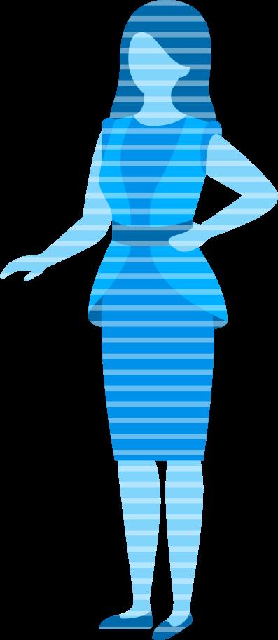 Ilustración de clipart de proyección de holograma de mujer en PNG, SVG