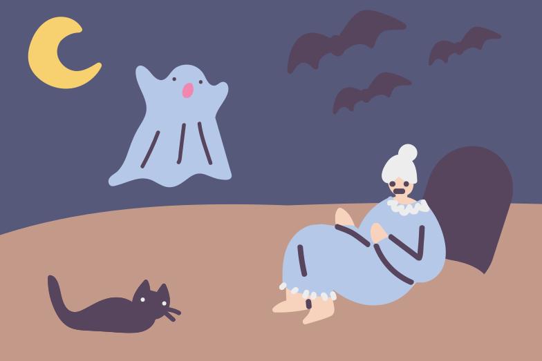 Granny's graveyard adventures Clipart illustration in PNG, SVG