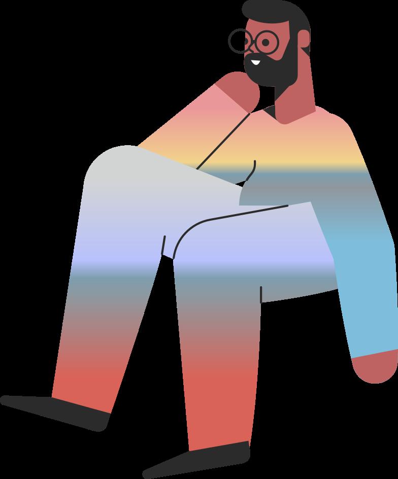 waiting  sitting man Clipart-Grafik als PNG, SVG