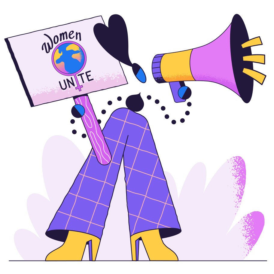 Advocating for the unification of women Clipart illustration in PNG, SVG