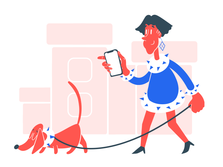 Walking with dog Clipart illustration in PNG, SVG