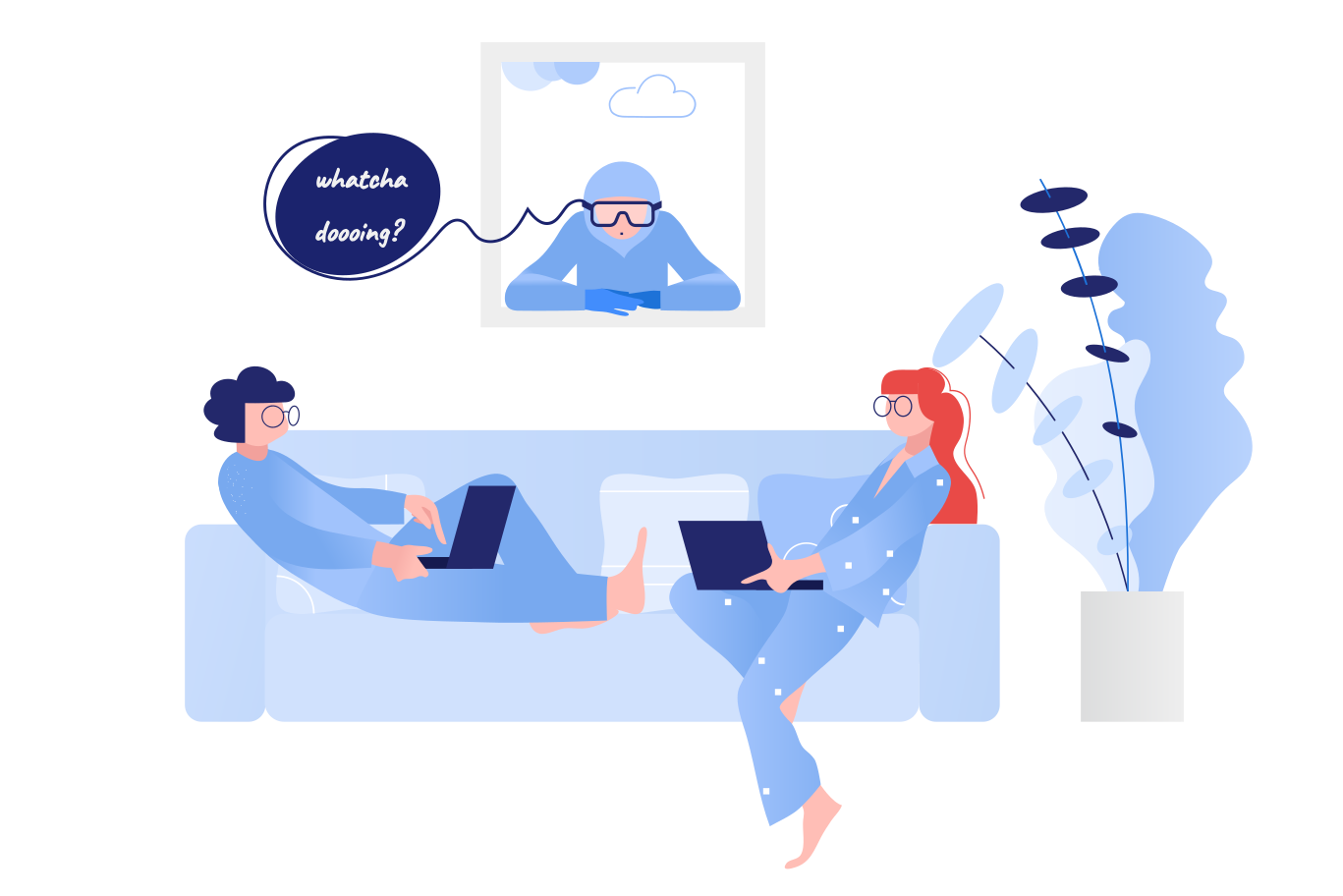 Couple on quarantine Clipart illustration in PNG, SVG