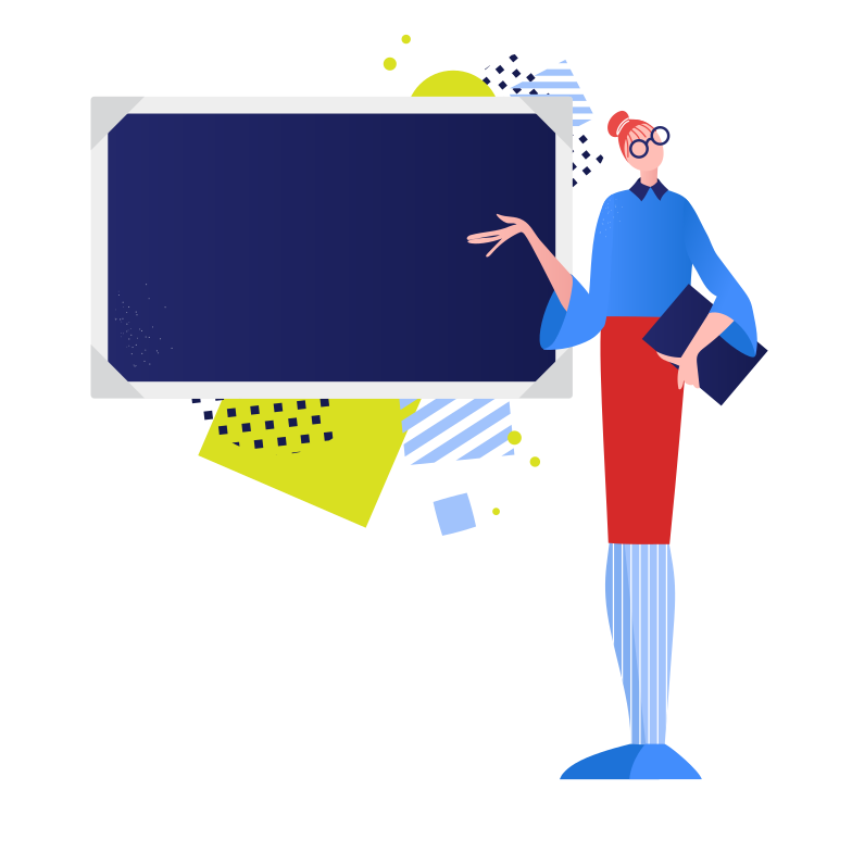 School teacher at the blackboard Clipart illustration in PNG, SVG