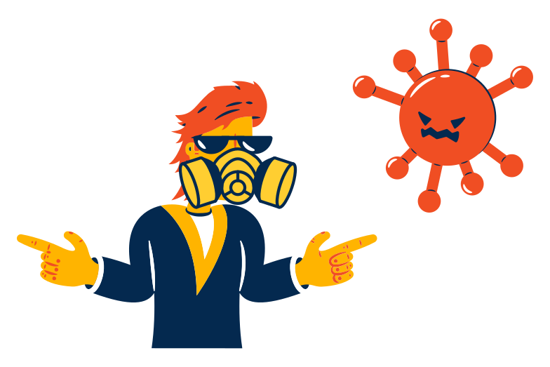 No way, virus! Clipart illustration in PNG, SVG