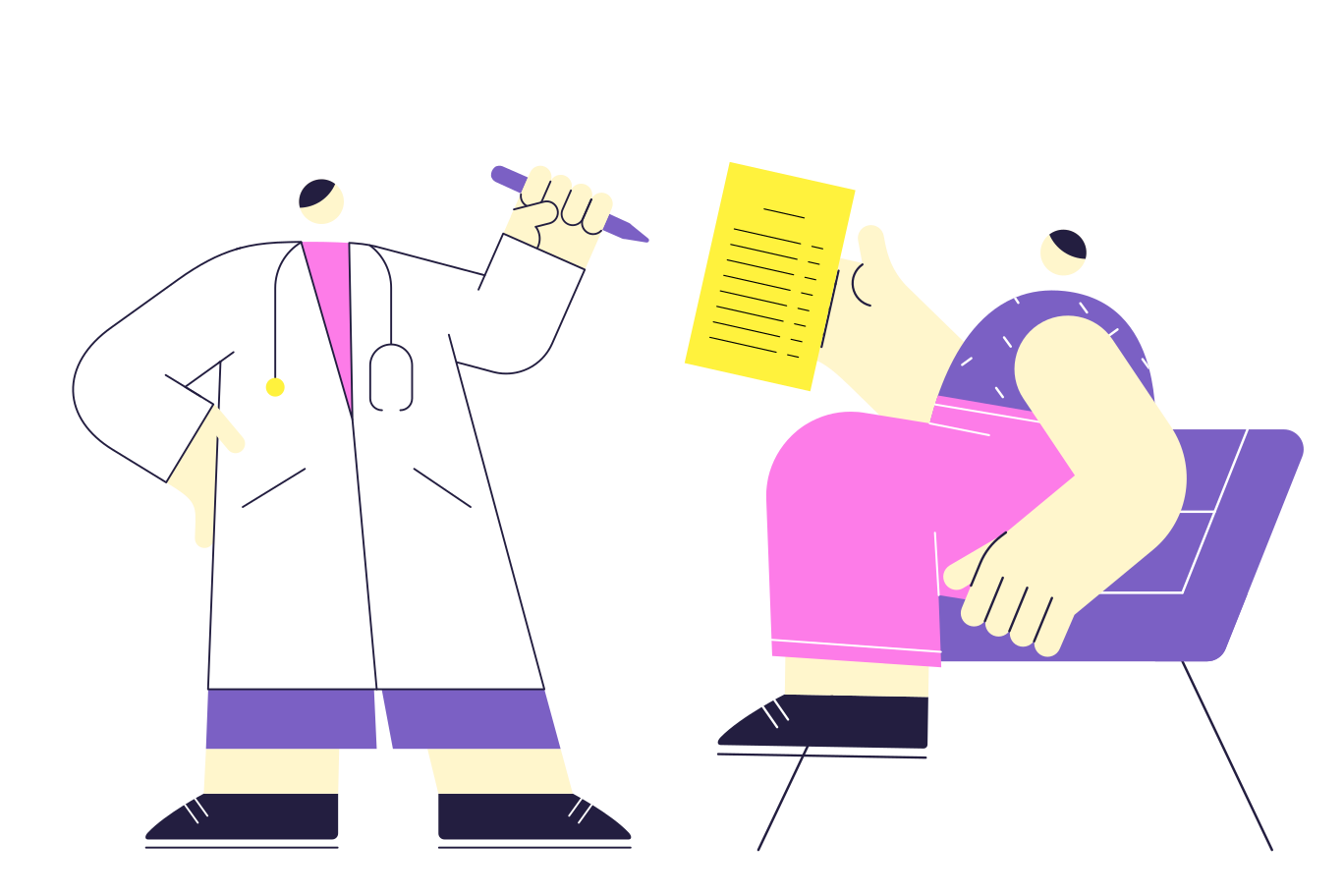 At a doctor's appointment Clipart illustration in PNG, SVG