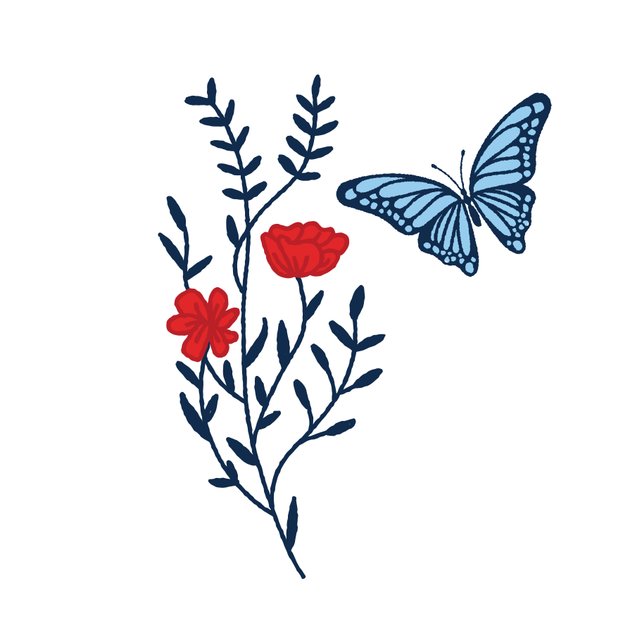 Butterfly and flower Clipart illustration in PNG, SVG