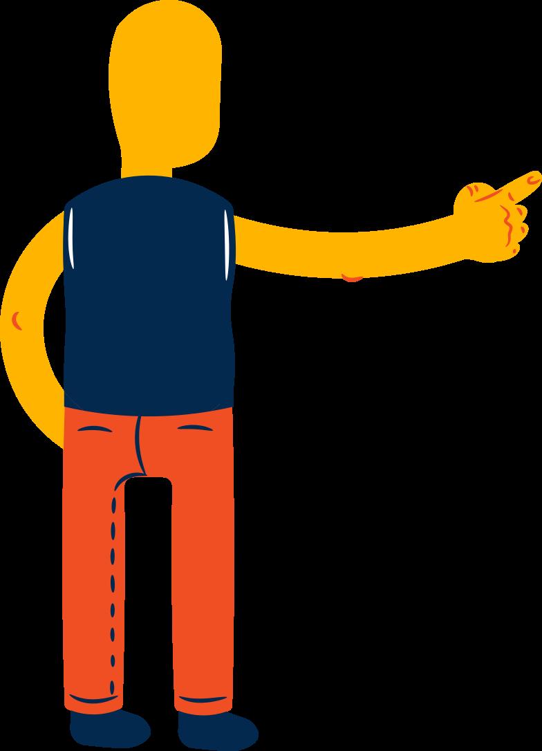 boy points back Clipart illustration in PNG, SVG