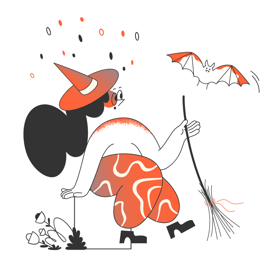 Witch with bat  Clipart illustration in PNG, SVG