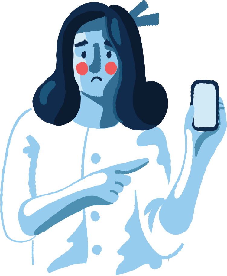 sad woman with a phone Clipart illustration in PNG, SVG