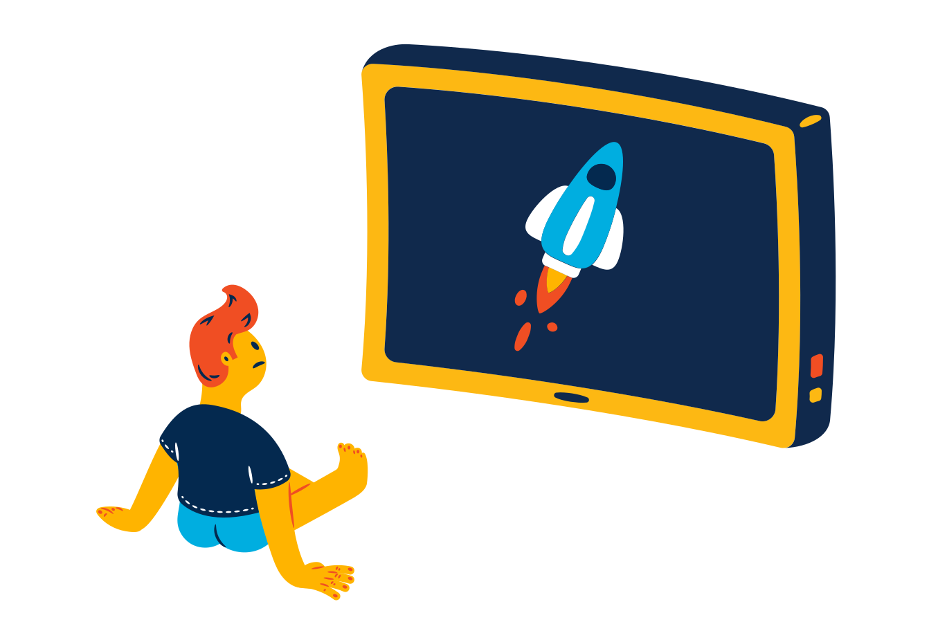 Watching rocket launch Clipart illustration in PNG, SVG