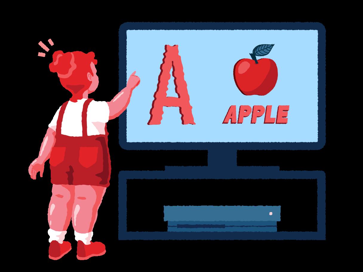 Girl learning alphabet Clipart illustration in PNG, SVG