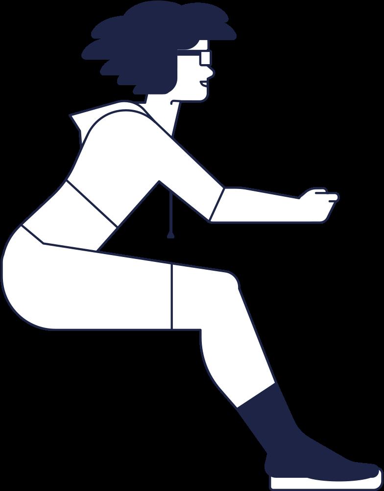 girl sitting line Clipart illustration in PNG, SVG