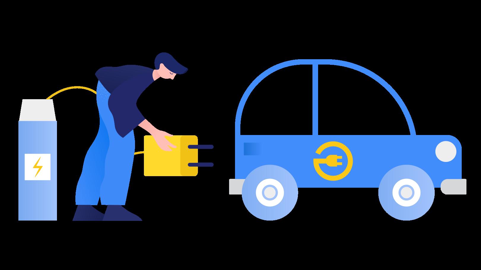 Aufladen von elektroautos Clipart-Grafik als PNG, SVG