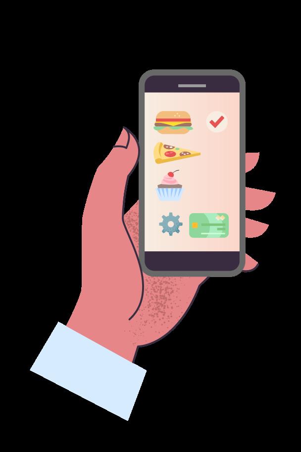 Ordering food delivery Clipart illustration in PNG, SVG