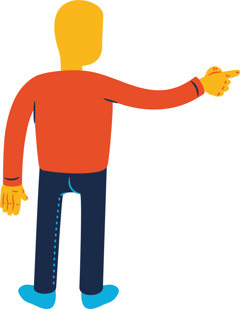 man pointing back Clipart illustration in PNG, SVG