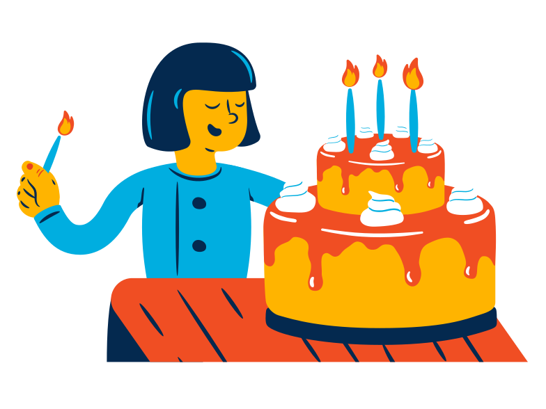 Big birthday cake Clipart illustration in PNG, SVG