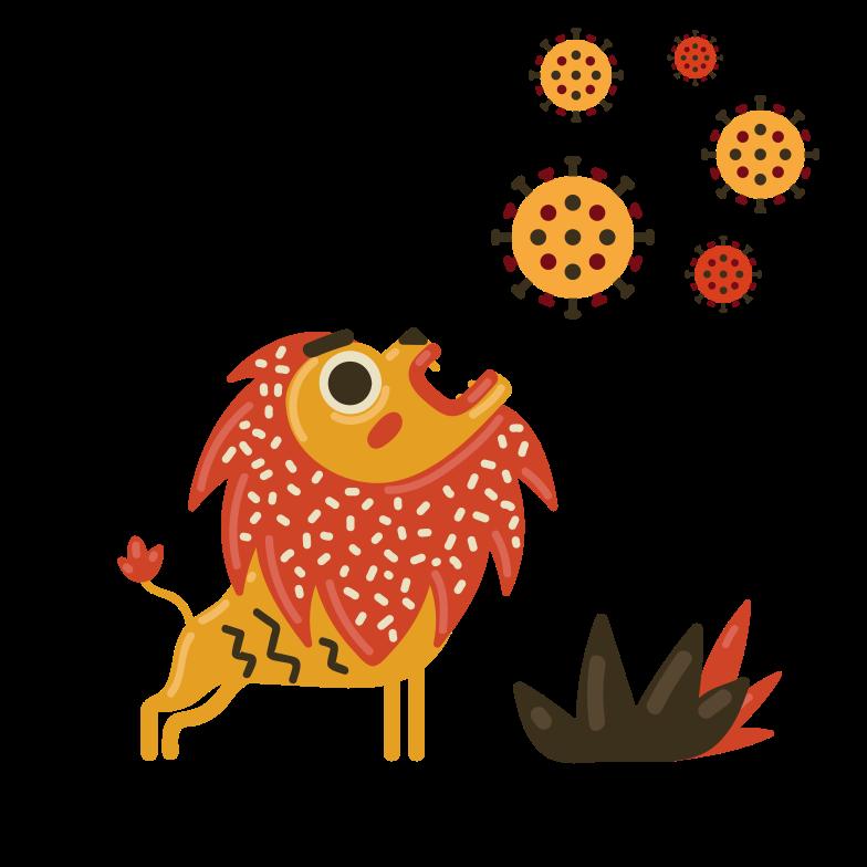 Ilustración de clipart de A lion that roars at a virus en PNG, SVG