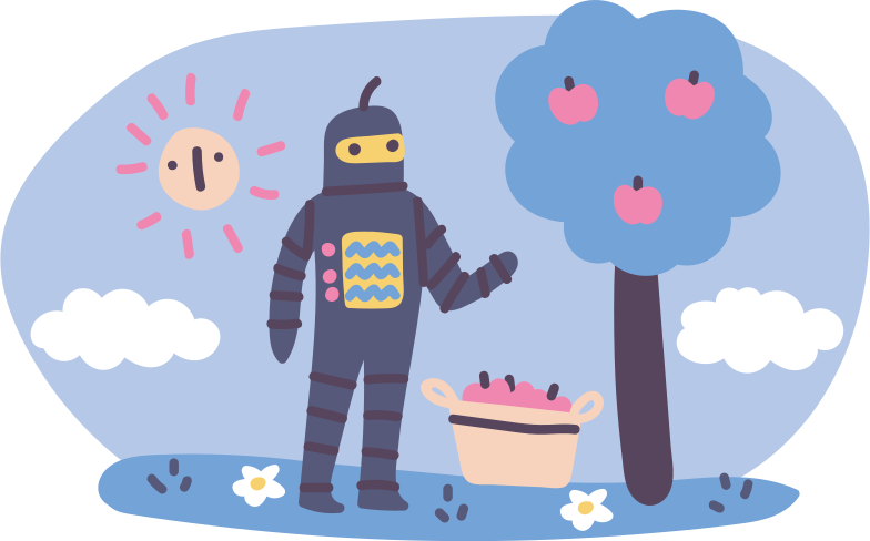 Robots, drones, artificial intelligence Clipart illustration in PNG, SVG