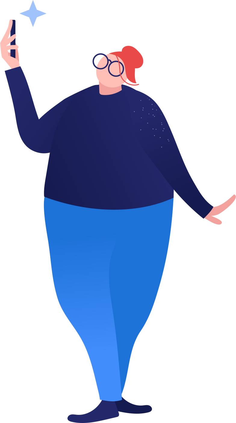 fat woman making selfi Clipart illustration in PNG, SVG