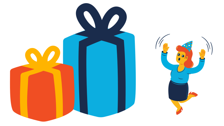 Woman received a very big gift Clipart illustration in PNG, SVG
