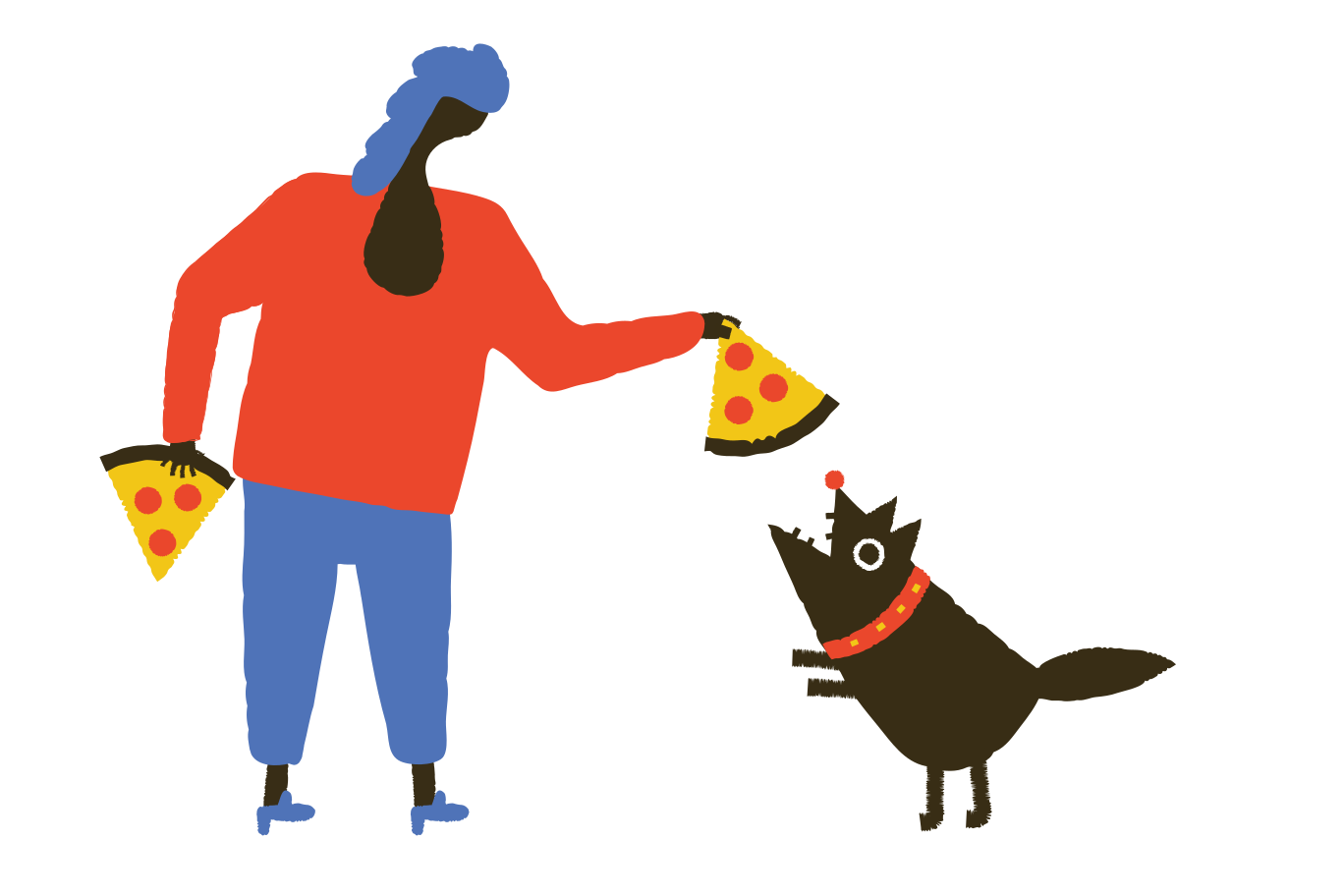 Dogs like pizza too Clipart illustration in PNG, SVG