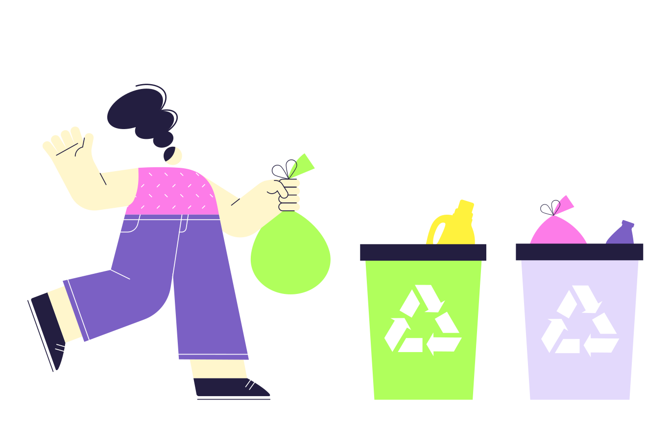 style Proper disposal of garbage Vector images in PNG and SVG | Icons8 Illustrations
