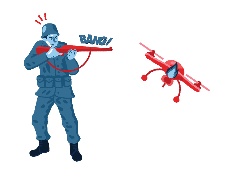 Military shot down a quadcopter Clipart illustration in PNG, SVG