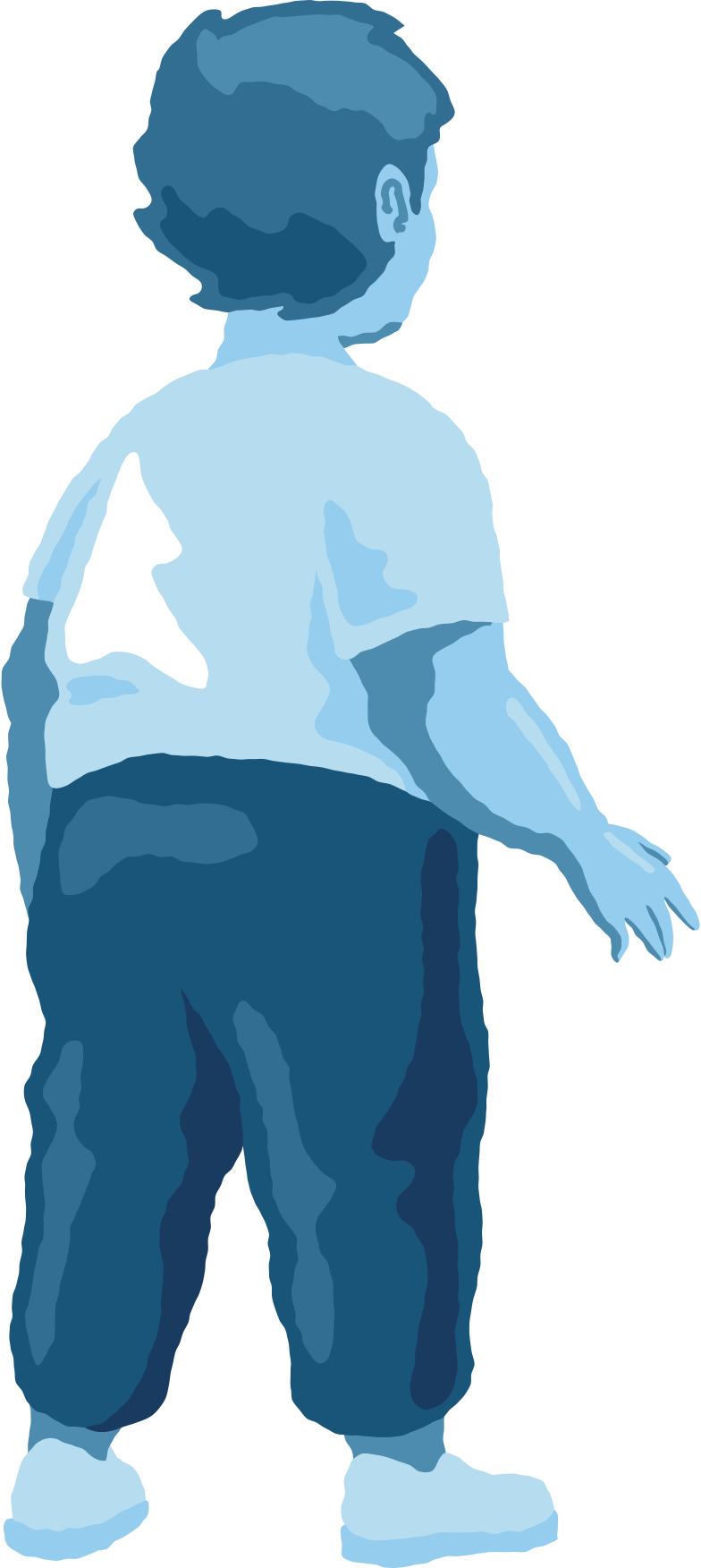 chubby boy standing back Clipart illustration in PNG, SVG