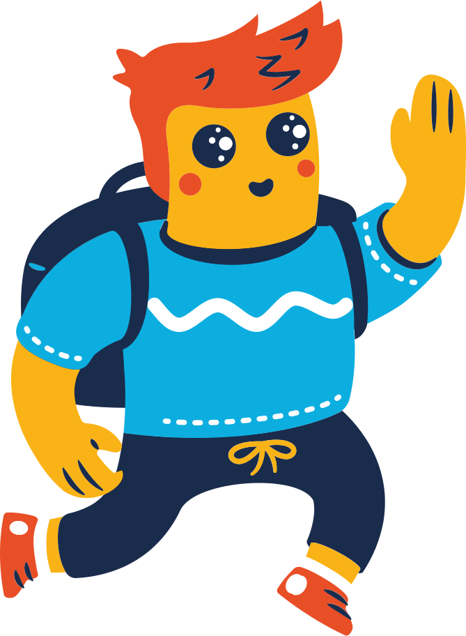 high-five man with backpack Clipart illustration in PNG, SVG