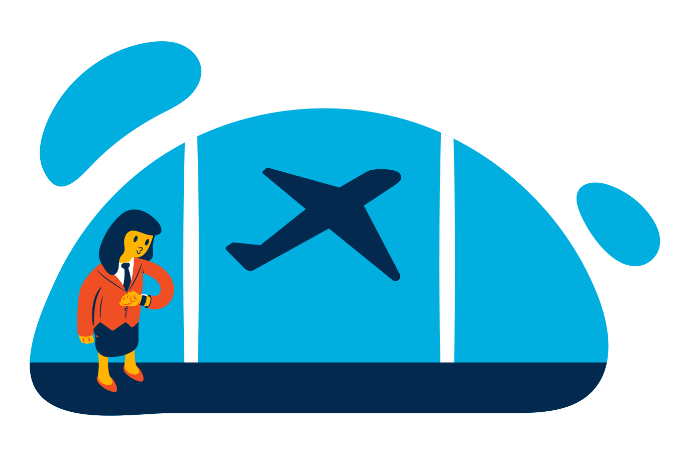 Waiting for a flight Clipart illustration in PNG, SVG