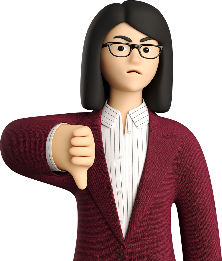 thumb down girl Clipart illustration in PNG, SVG