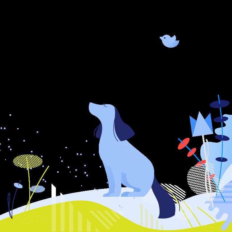 Dog enjoying nature Clipart illustration in PNG, SVG