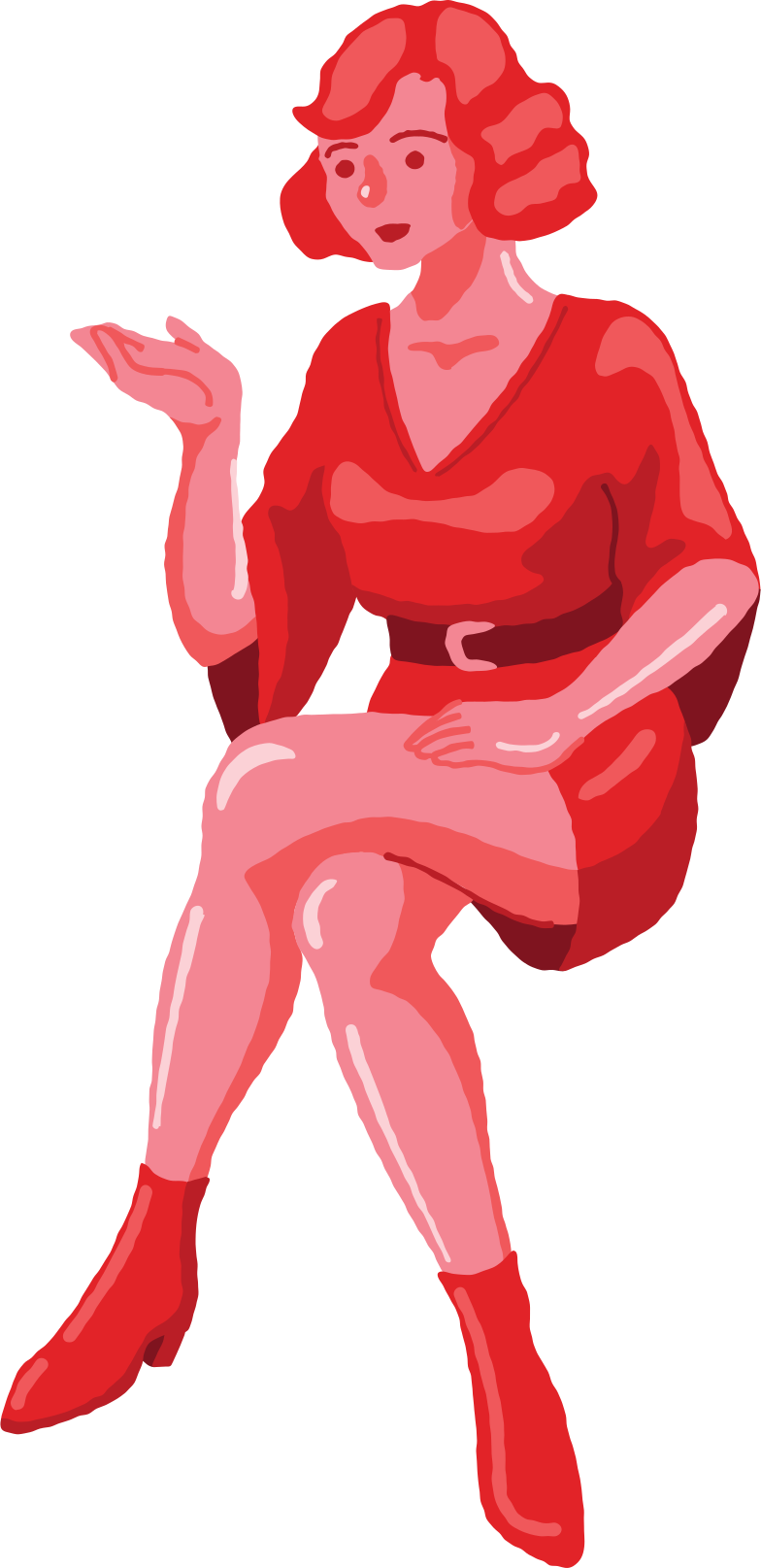 woman sitting front Clipart illustration in PNG, SVG