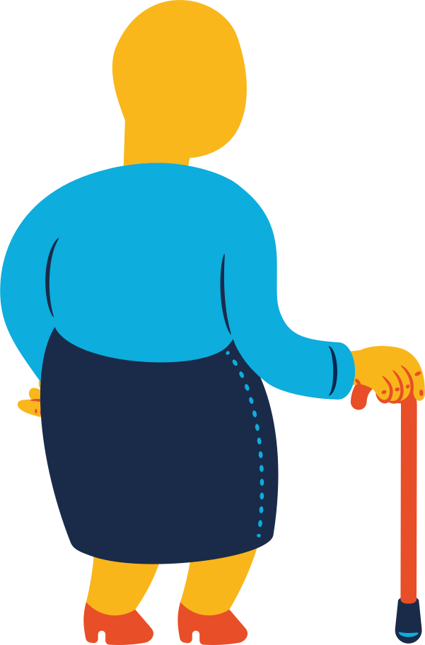 chubby old woman standing back Clipart illustration in PNG, SVG