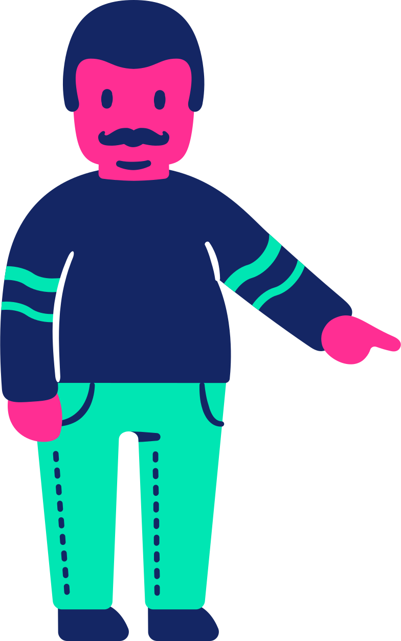 man fat pointing down Clipart illustration in PNG, SVG