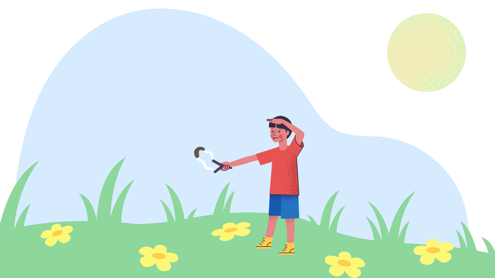 Boy shoots a slingshot in the meadow Clipart illustration in PNG, SVG