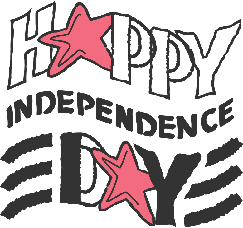 happy independence day inscription Clipart illustration in PNG, SVG