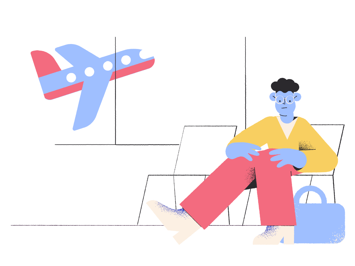 Waiting for airplane  Clipart illustration in PNG, SVG