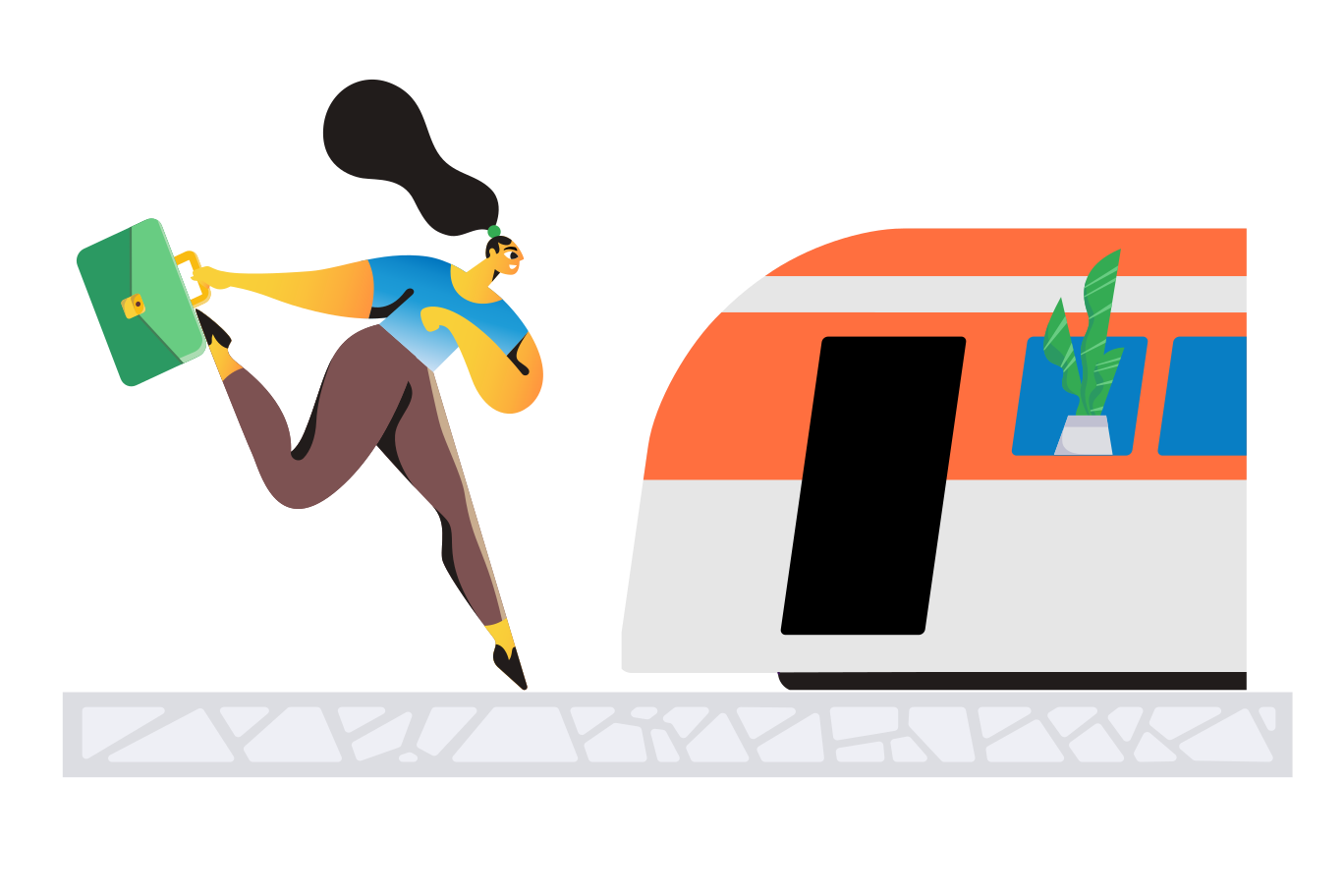 Miss the train Clipart illustration in PNG, SVG