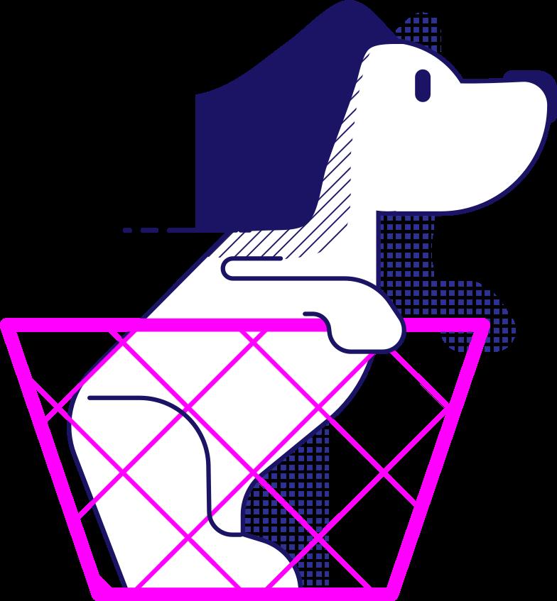 y traveling dog in the basket Clipart illustration in PNG, SVG