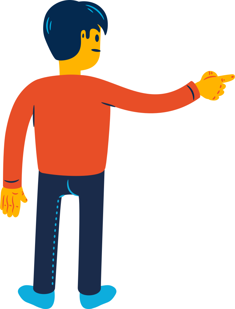man pointing a finger from behind Clipart illustration in PNG, SVG
