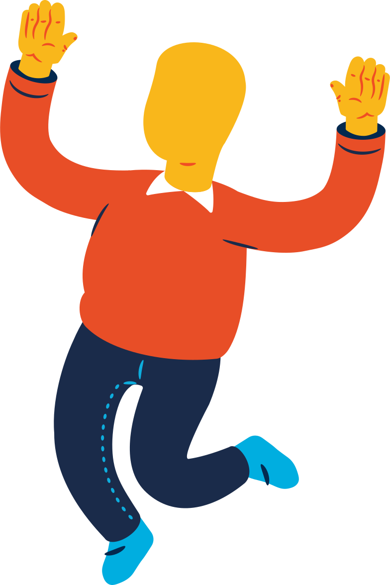chubby man jumping Clipart illustration in PNG, SVG
