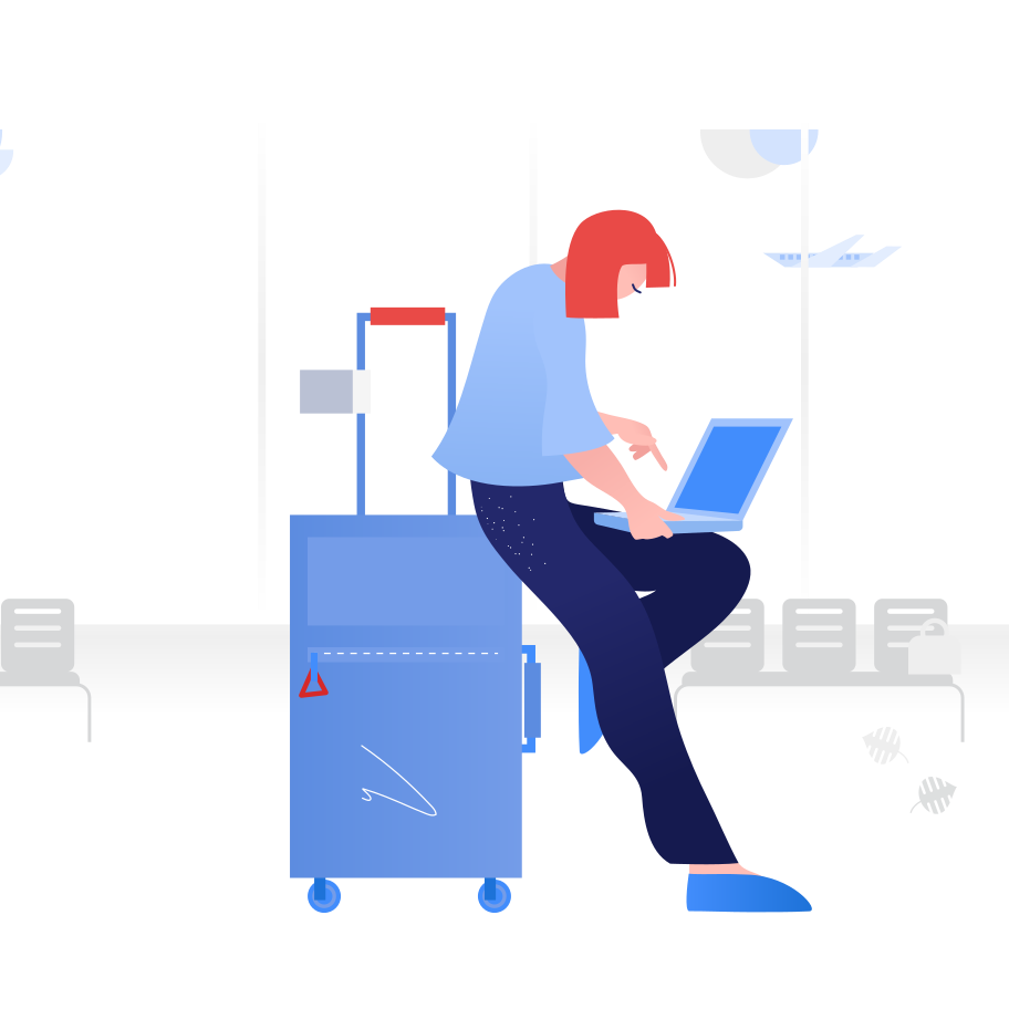 Working from airport Clipart illustration in PNG, SVG