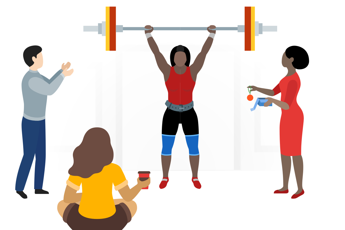 Strong woman doing barbell lift Clipart illustration in PNG, SVG