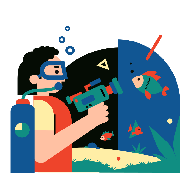 Underwater video shooting Clipart illustration in PNG, SVG