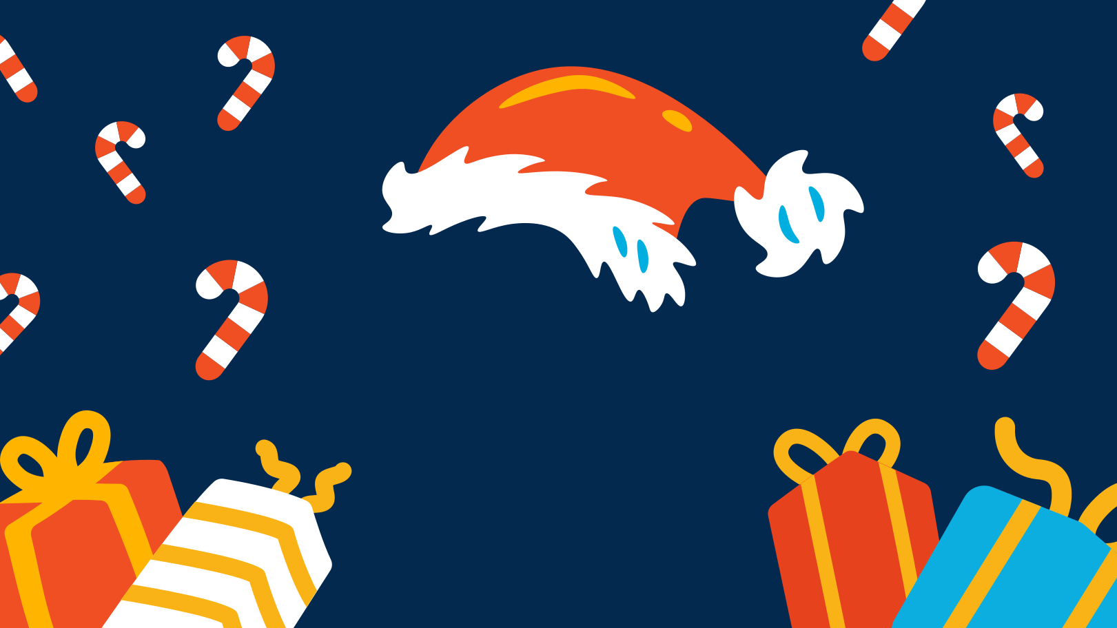 Santa hat and gifts Clipart illustration in PNG, SVG