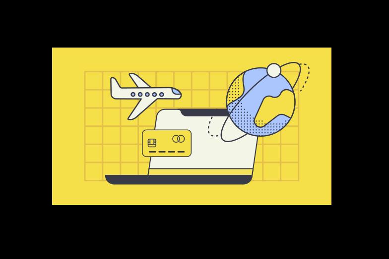 Online flight booking  Clipart illustration in PNG, SVG
