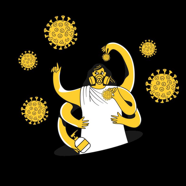 Сatch virus molecules Clipart illustration in PNG, SVG