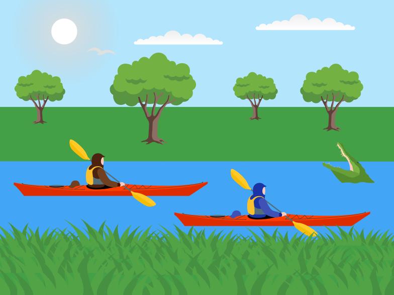 Kayaking Clipart illustration in PNG, SVG