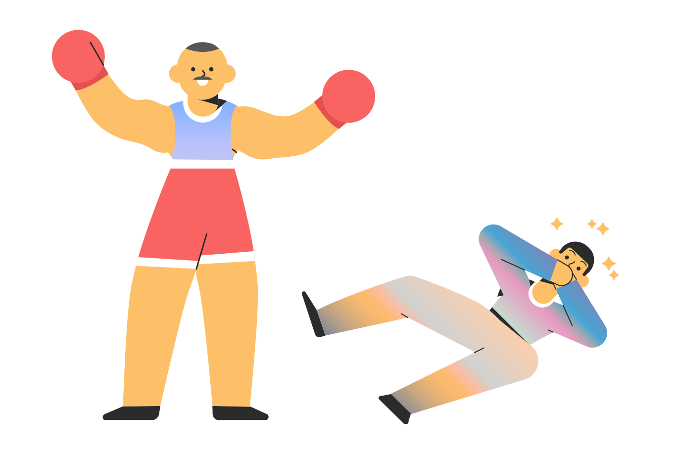 Punch in the face - knockout Clipart illustration in PNG, SVG